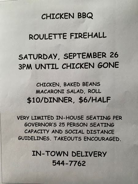 9-26 Chicken BBQ At The Roulette Firehall