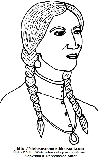 Dibujo de Micaela Bastidas para colorear, pintar e imprimir. Imagen de Micaela Bastidas de Jesus Gómez