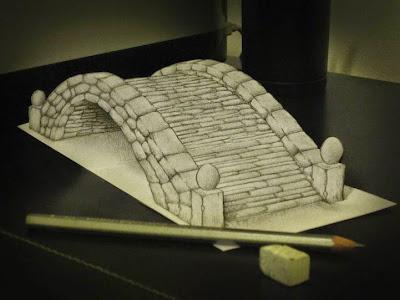 dibujo con apariencia 3D con anamorfismo