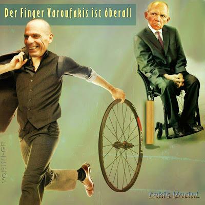 Finanzminister lustig - Varoufakis und Schäuble ärgern sich - Spaßbild Politik