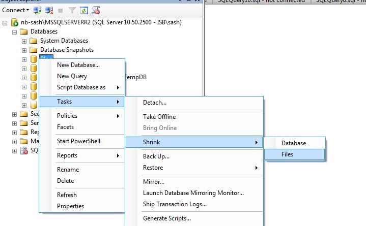 shrink db in sql server