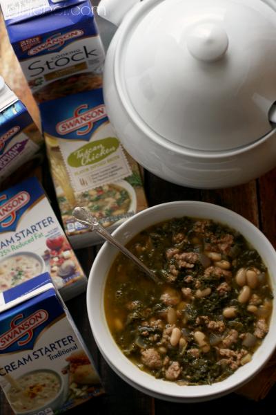 Tuscan White Bean Soup + Swanson® Soup Prize Pack #Giveaway #soup #kale via @roadstokitchen w/ @swansonbroth