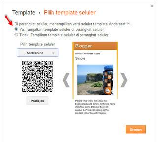 Mengaktifkan template seluler blogspot