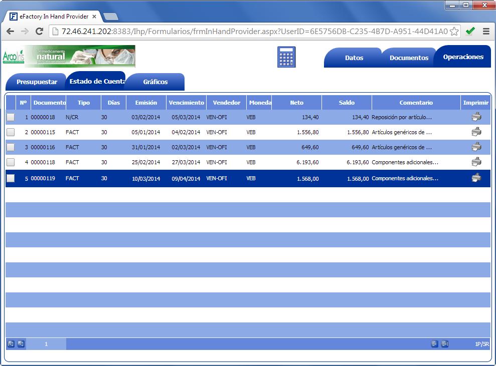 In Hand Provider: Visualización de estado de cuenta - Productos Web de eFactory para Móviles y Tabletas