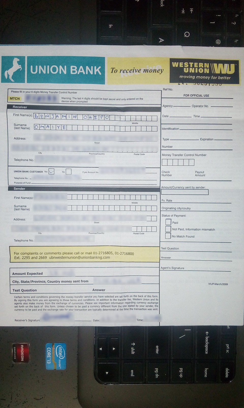 How To Fill Western Union Receive Teller [Photo] ~ Fruitty Blog