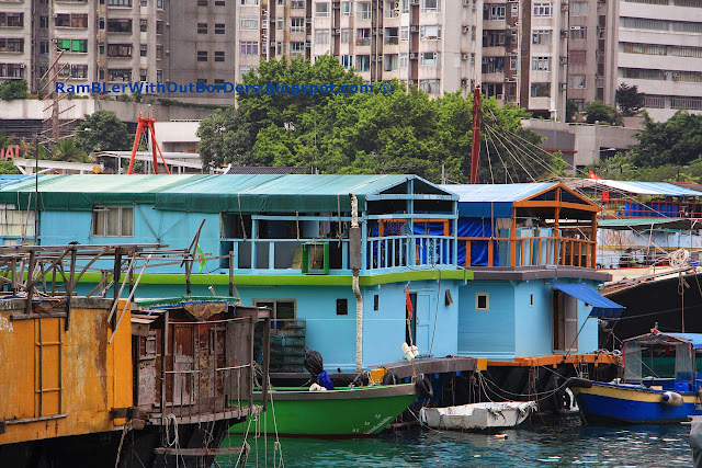 Floating housing, Houseboats, Aberdeen Harbour, Hong Kong