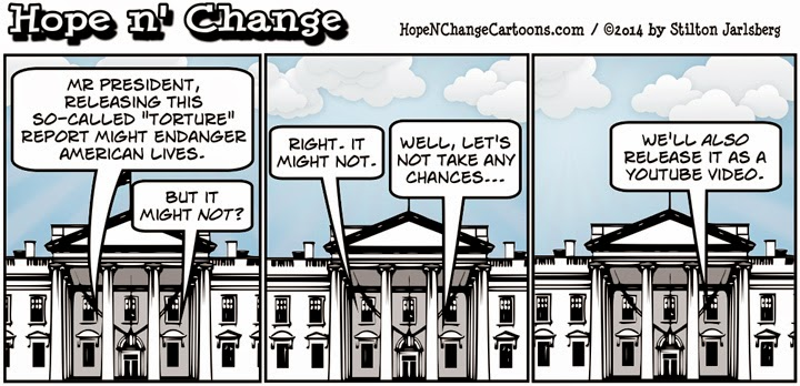 obama, obama jokes, political, humor, cartoon, conservative, hope n' change, hope and change, stilton jarlsberg, torture, guantanamo, cia, report