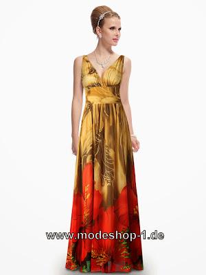 abendkleider günstig online bestellen tolles blumen abendkleid in gold mit v dekoltee