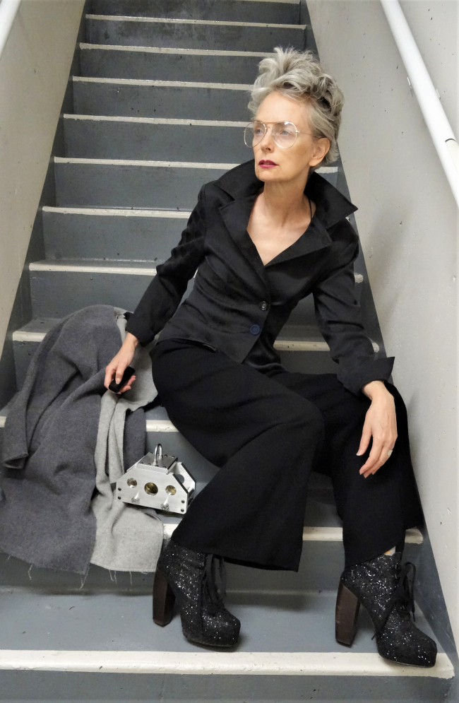 Mel Kobayashi, Bag and a Beret, Jacqueline Conoir jacket, Anne Klein trousers, The Device by Osamu Kobayashi, glasses by Nordstrom