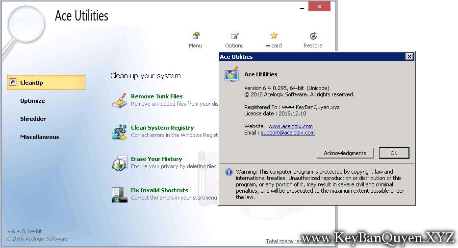 Ace Utilities 6.4.0 Full Key Download, Phần mềm dọn dẹp rác trong máy tính đa năng