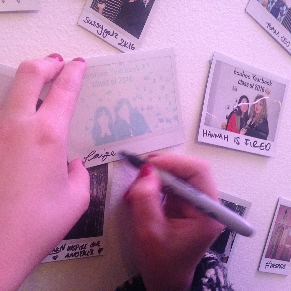 blog event, polaroid wall, boohoo class of 2016, spring