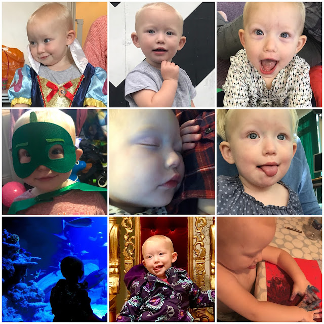 A collage of 9 photos of Little including in a snow white dress, sticking her tongue out, dressed as Gecko from PJ Masks, asleep on my chest, in front of an aquarium, on a throne and painting with her hands