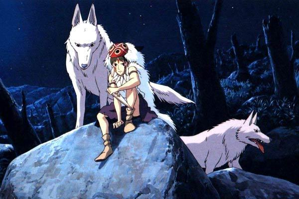 San and wolves Princess Mononoke 1997 animatedfilmreviews.filminspector.com