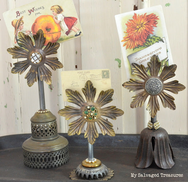 Upcycled lamp parts junky flower card holders