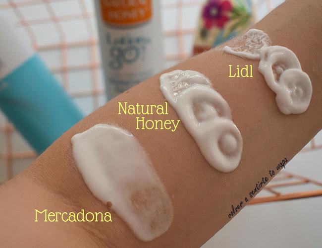 Cremas en spray de Mercadona, Natural Honey y Lidl