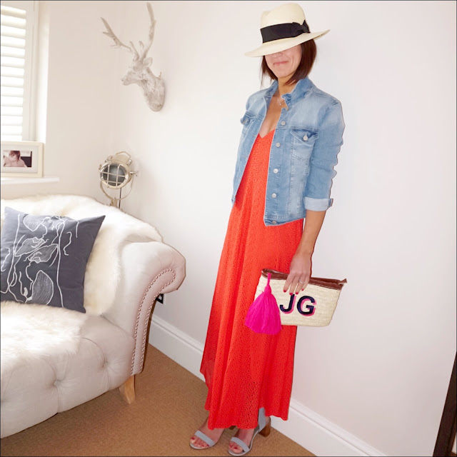 My Midlife fashion, handm panama hat, zara cropped denim jacket, tibi broderie maxi dress, initially london ibiza clutch, marks and spencer block heel studded sandals