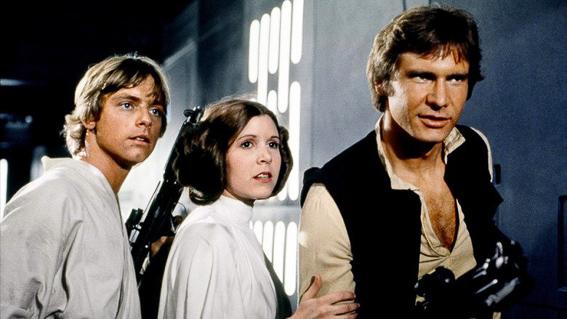 La princesa Leia, Luke Skywalker y Han Solo. La guerra de las galaxias