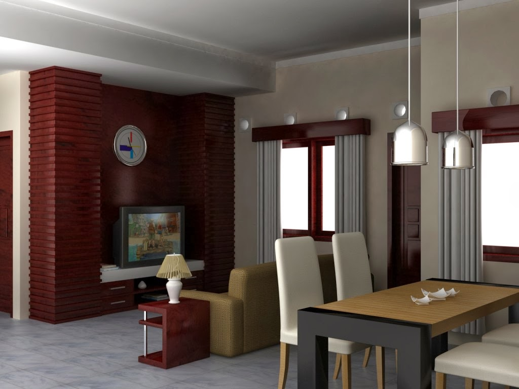 gambar 2. ruang keluarga menyatu dengan ruang makan
