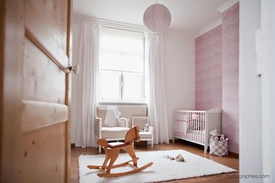 Dormitorio bebé rosa gris