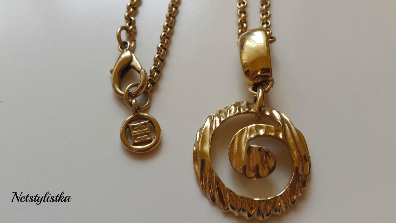 Givenchy złoty naszyjnik vintage, biżuteria vintage, stare złote kolczyki Givenchy, markowa biżuteria