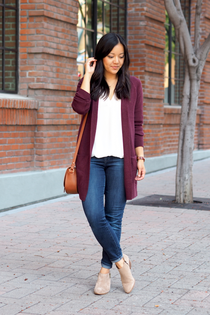 Maroon Cardigan + jeans + booties + white blouse