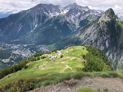 View of the trail for the two day hike. On trail #44, looking down on Rifugio Bertone.