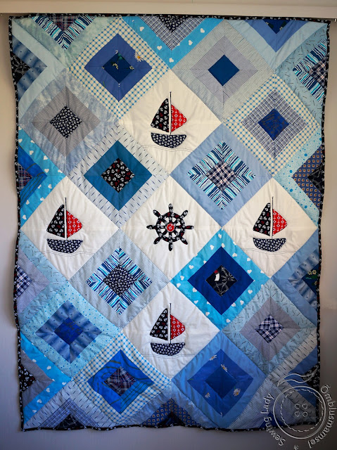 nautical quilt, sailboat patchwork blanket