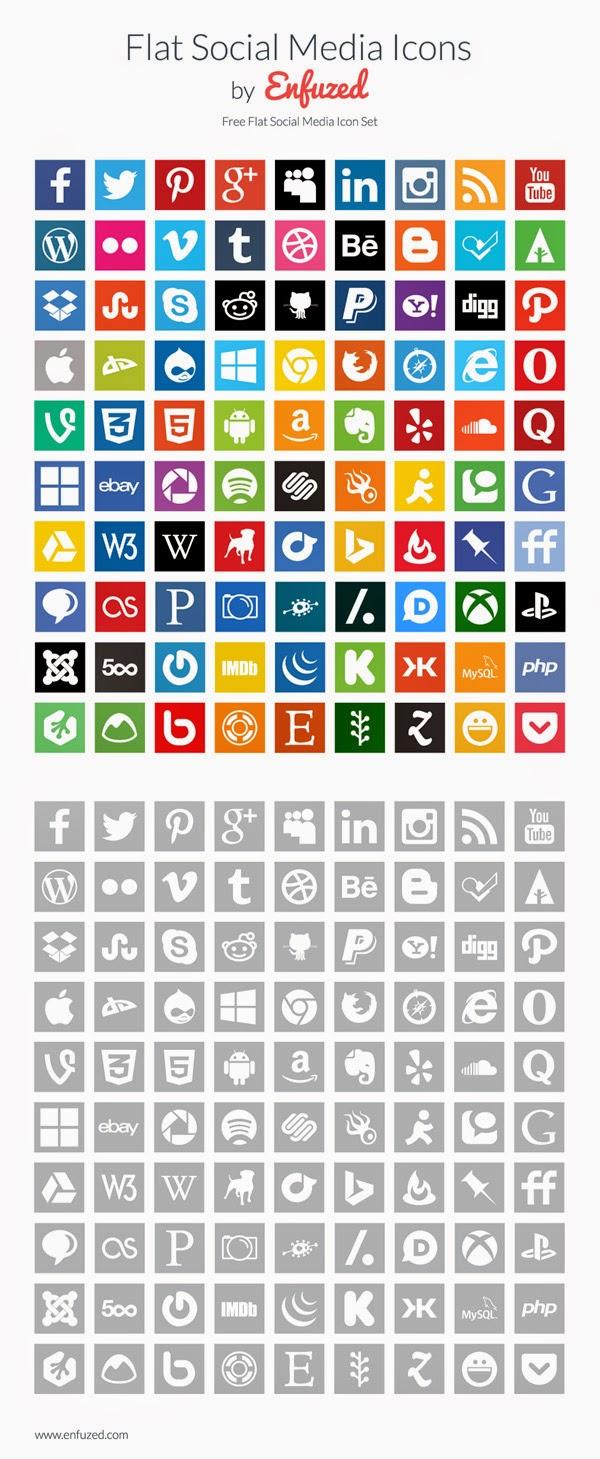 90 Flat Social Media Icons