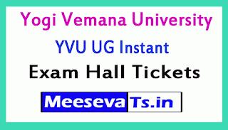 Yogi Vemana University YVU Degree Instant Exam Hall Tickets