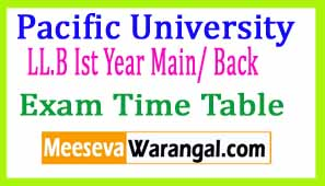 Pacific University LL.B Ist Year Main/ Back Apr 2017 Exam Time Table