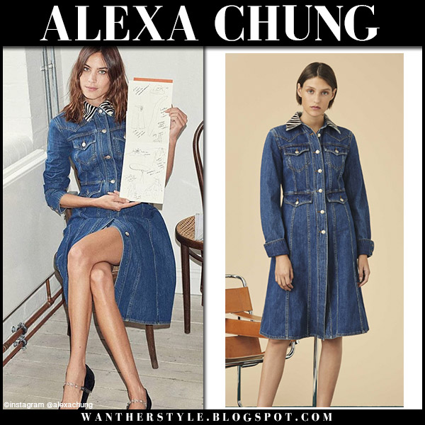 Alexa Chung in denim zebra collar coat dress alexachung fall fashion september 14