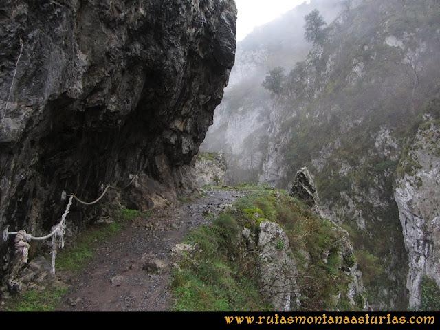 Ruta de las Xanas y Senda de Valdolayés: Pasamanos de cuerda