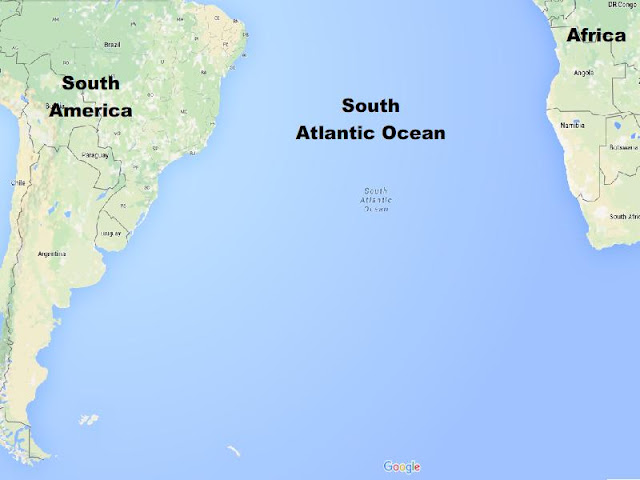 Map of South Atlantic Ocean