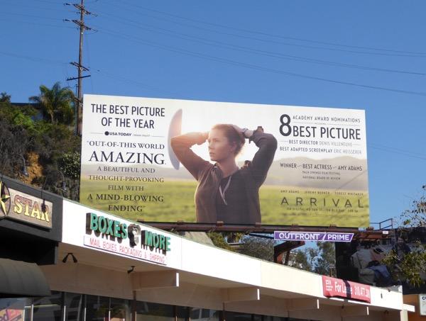 Arrival Oscar nominee billboard Sunset Strip
