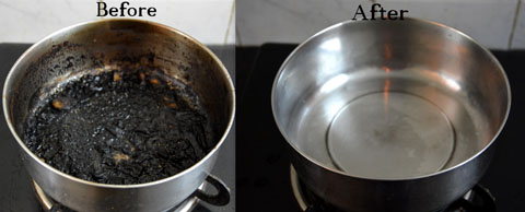 How to clean the bottom of a burnt pan