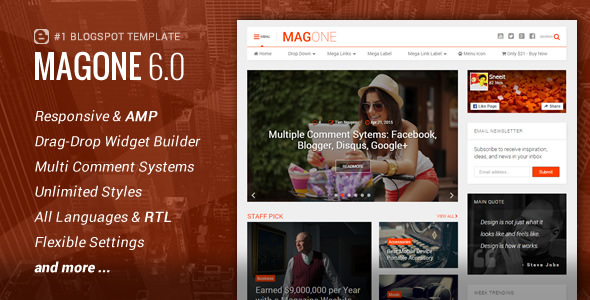 Free MagOne v6.5.4 - Responsive News & Magazine Blogger Template