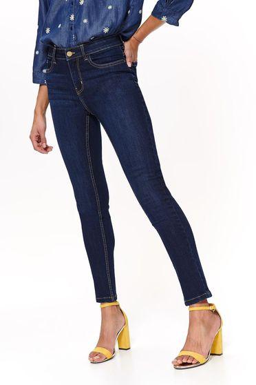 Blugi Top Secret albastri casual skinny cu talie medie din bumbac usor elastic cu buzunare