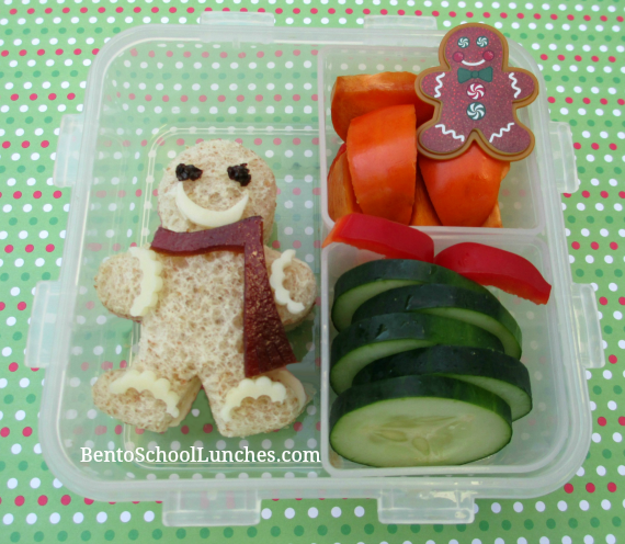 Gingerbread man Christmas bento school lunch