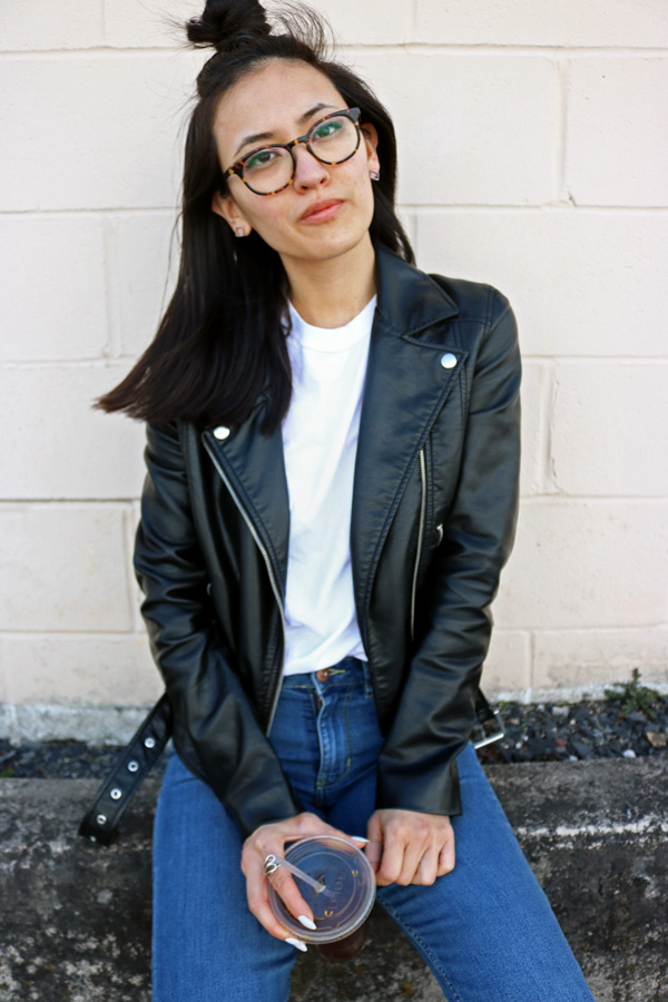 Leather Jacket, White T-shirt, Top-Knot Hair