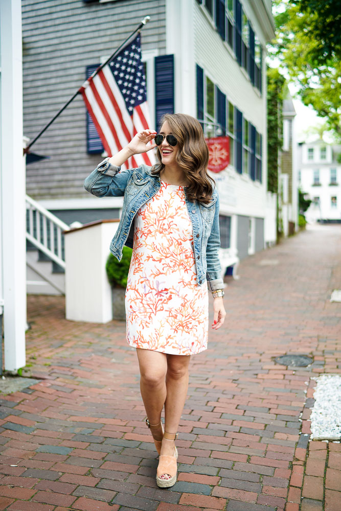Krista Robertson, Covering the Bases, Travel Blog, NYC Blog, Preppy Blog, Style, Women's Fashion Blog, Fashion, Fashion Blog, Summer Must Haves, Summer Fashion, Nantucket, Cape Cod, Massachusetts, Summer Dresses, Summer Fashion, Coral, Preppy Outfit, Nantucket Style, Denim Jacket