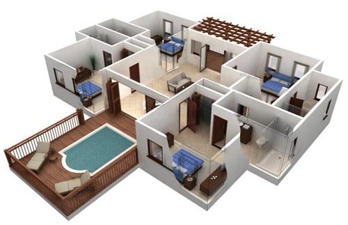 Griya Desain Rumah 1 Lantai 4 Kamar