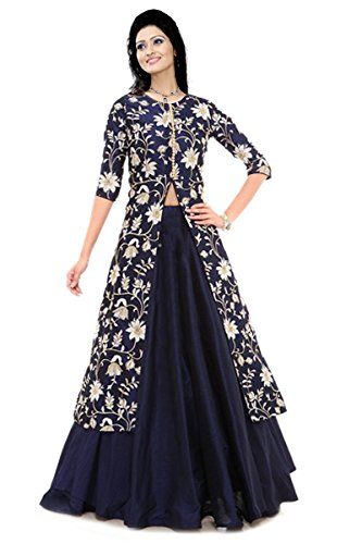 c3f4f6778c BLUE COTTON EMBROIDERED INDO WESTERN DRESS