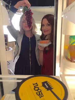 Ashley Benson (Hanna) and Laura Leighton (Hanna's mom) PLL fridge BTS 6x09