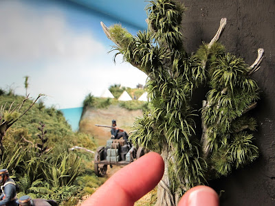 Fingers next to a cabbage tree in a diorama, showing scale..