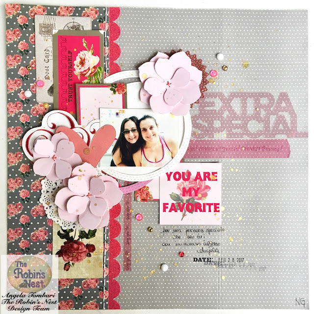 Emotional Scrapbook Layout Angela Tombari using The Robin's Nest products
