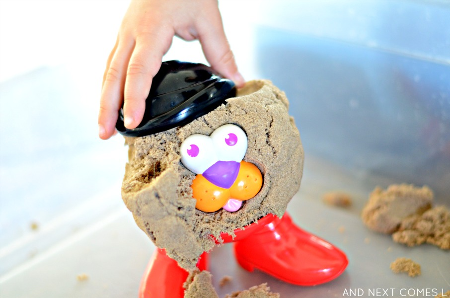 Kinetic sand potato head sensory play from And Next Comes L