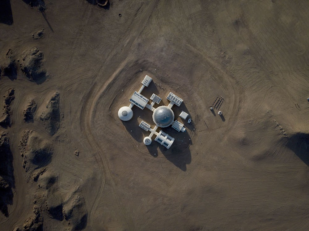 China's C-Space Mars simulation base in Gobi desert (high overview)