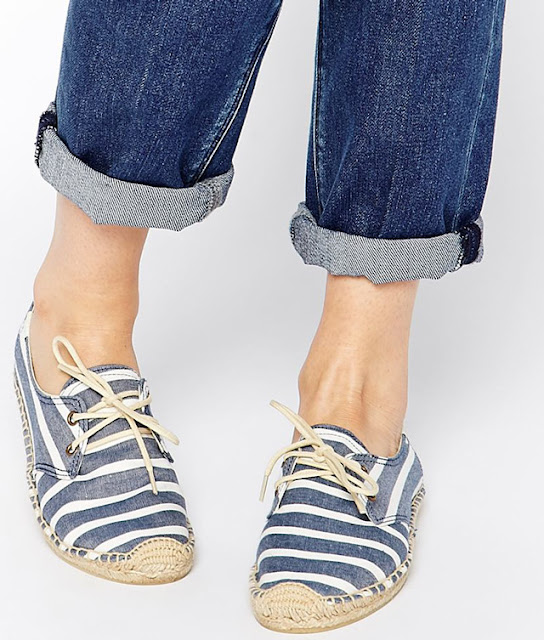 Without espadrille summer is never complete. Soludos Derby Navy Stripe Lace Up Espadrille Flat Shoes
