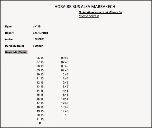 Horaires bus aéroport de Marrakech