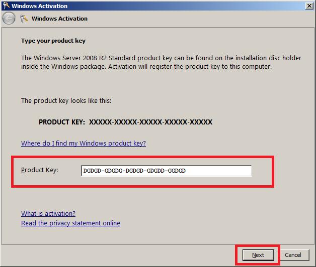 windows 2008 r2 add product key